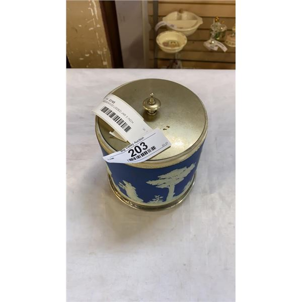 WEDGEWOOD LIDDED JAR 5 INCH DIAMETER APPROX 6 INCHES TALL ON STAND