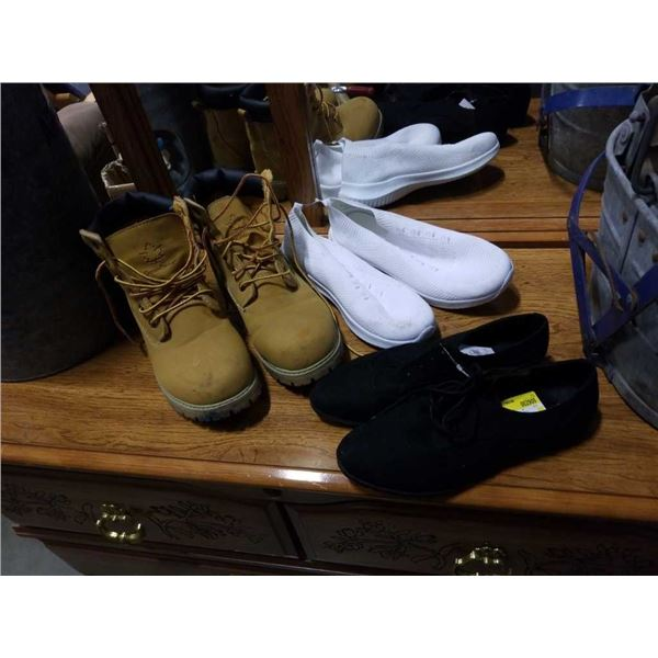 As new size 11 canadiana boots, and two pairs of size 10 shoes