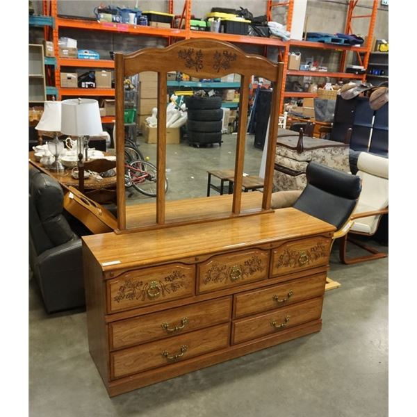 MCM 7 carved drawer dresser with mirror