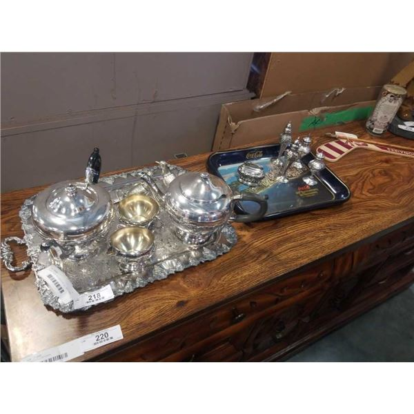SILVER PLATE TEA SERVICE ON TRAY AND SALT AND PEPPERS