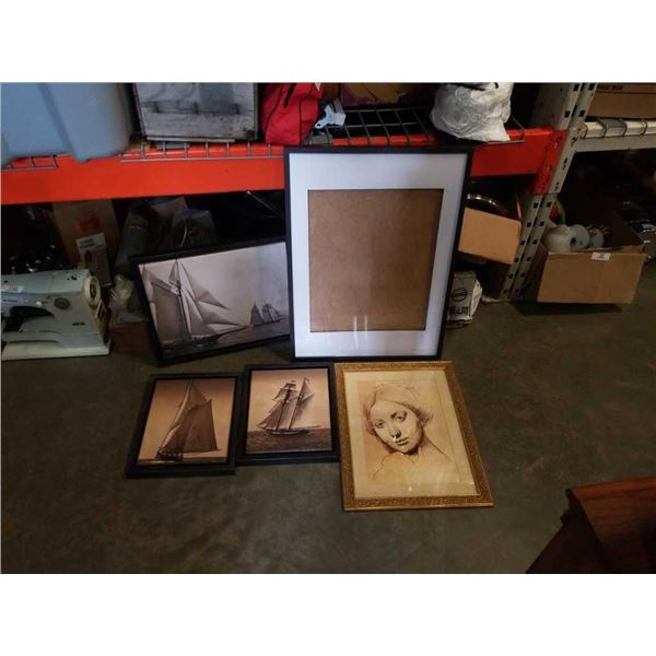 BOX OF CANVAS SHIP PRINTS, PICTURE FRAME AND PRINT