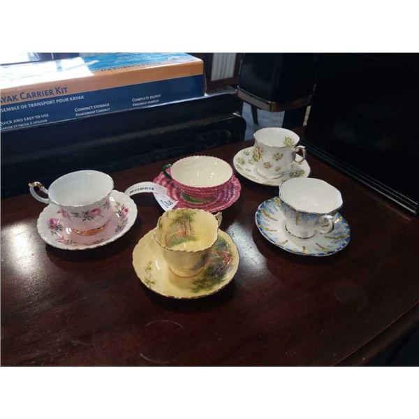 5 CHINA CUPS AND SAUCERS - ROYAL ALBERT, AYNSLEY, QUEENS AND OTHER