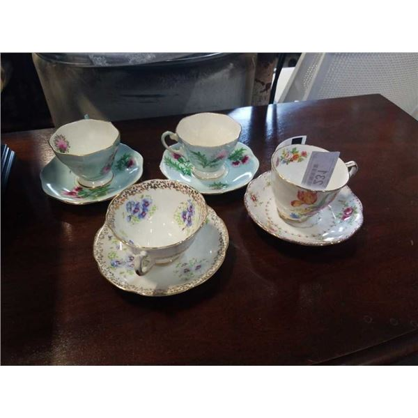 4 TEACUPS AND SAUCERS, FOLEY, ROYAL STAFFORD AND OTHER