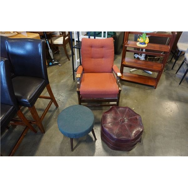 VINTAGE CHAIR AND 2 VINTAGE OTTOMANS
