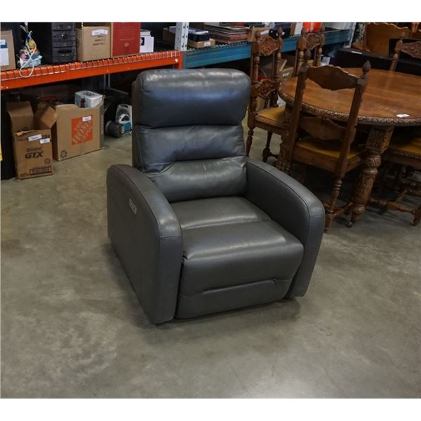 GREY LEATHER CHAIR - NO POWER SUPPLY, UNTESTED