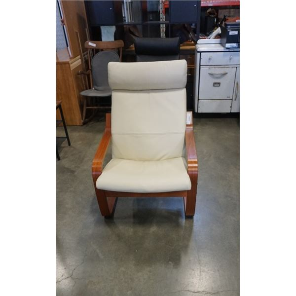 BENTWOOD AND BEIGE LEATHER CHAIR