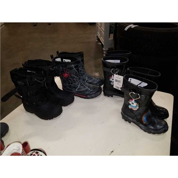 4 pairs of new kids boots size 11 and 12
