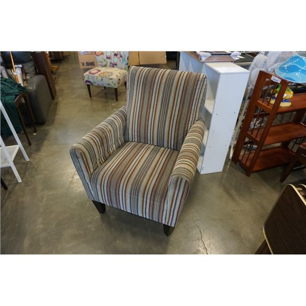 STRIPED UPHOLSTERED ARMCHAIR
