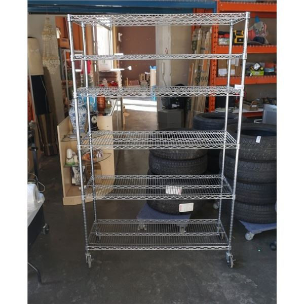SEVILLE CLASSICS 6 TIER ROLLING WIRE METAL SHELVING