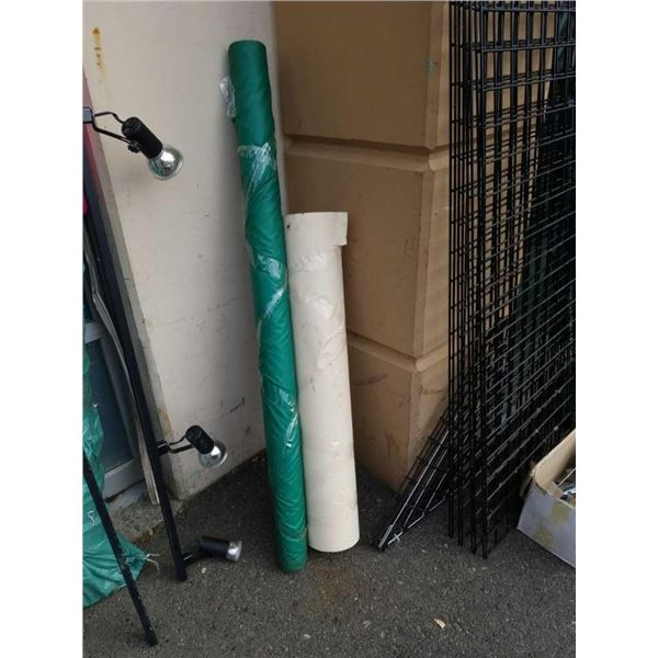 5 foot roll of green Fabric and roll of shipping paper