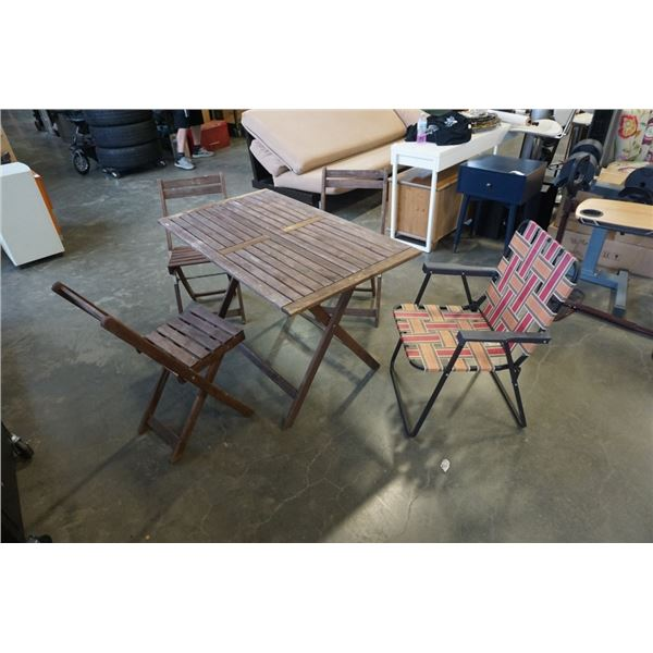 WOOD FOLDING PATIO TABLE WITH 3 FOLDING CHAIRS