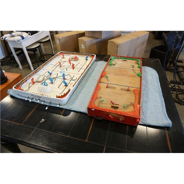 2 antique table hockey games