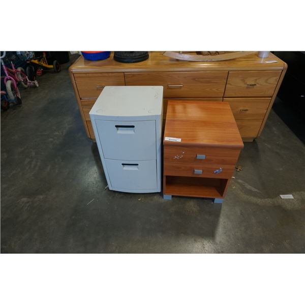 ROLLING 2 DRAWER STAND AND 2 DRAWER NIGHTSTAND