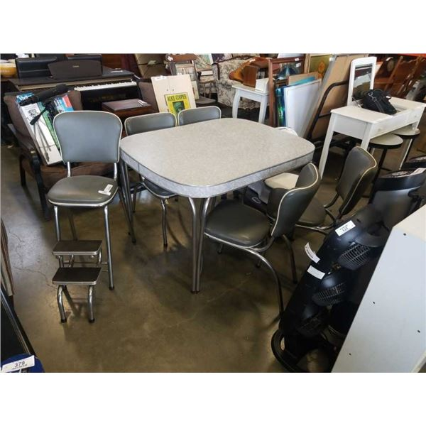 MCM table with 4 chairs and step stool chair
