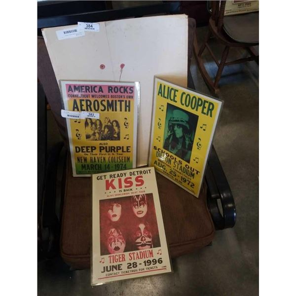 AEROSMITH, ALICE COOPER AND KISS REPRODUCTION CONCERT POSTERS