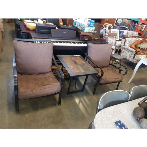 3 PIECE METAL PATIO SET - 2 CHAIRS AND STONE TOP ENDTABLE