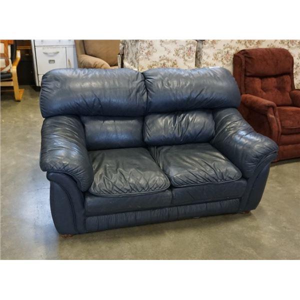Blue leather loveseat