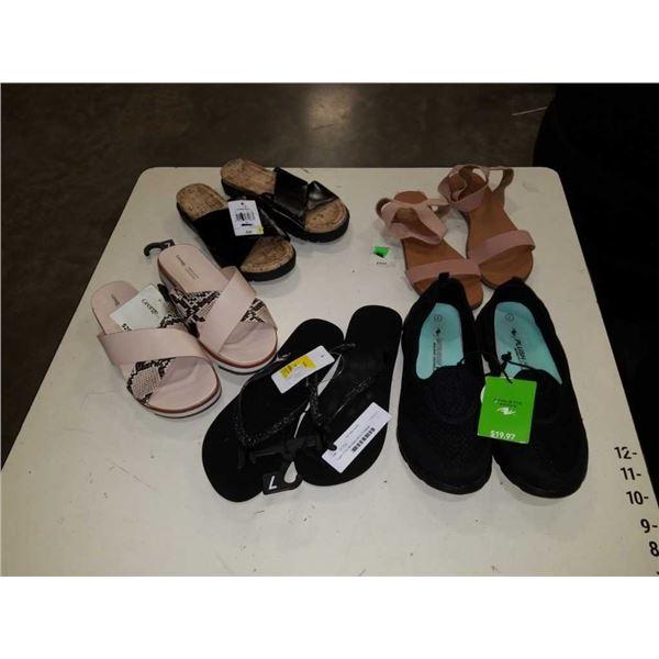 5 pairs of as new ladies size 6-7 footwear
