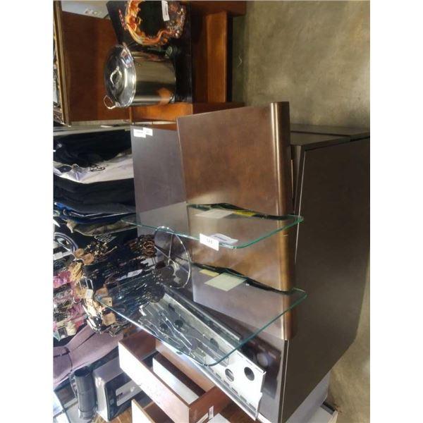 MODERN GLASS METAL AND WOOD COMPONENT WALL SHELF
