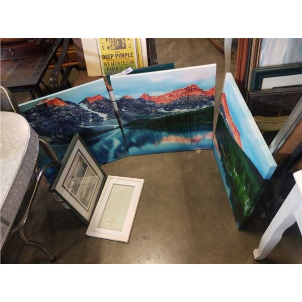 3 PIECE CANVAS PRINT AND 2 PRINTS