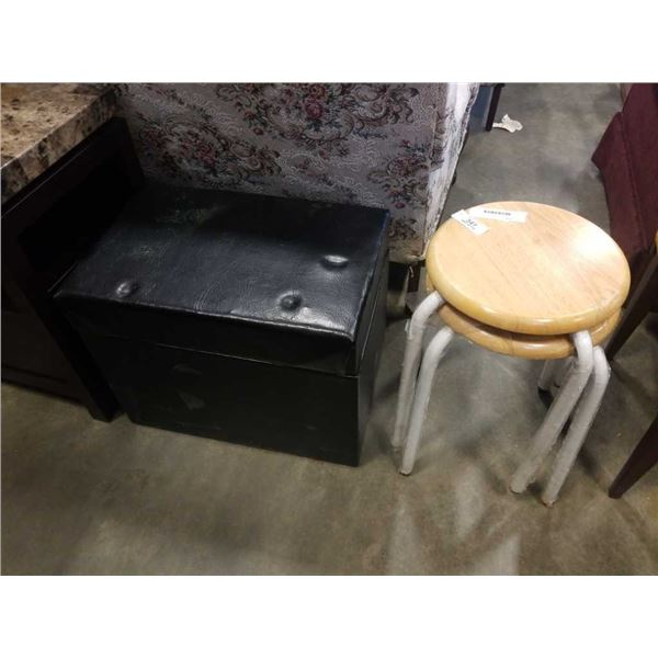 BLACK STORAGE OTTOMAN AND 2 STOOLS