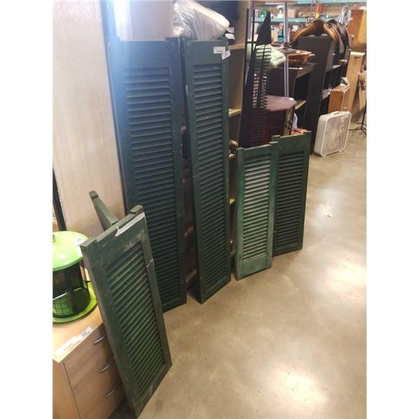 6 Antique wood shutters aprrox 3ft and 5ft high