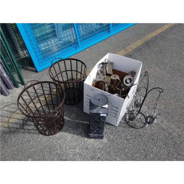 2 decorative metal baskets with box of decorative metal