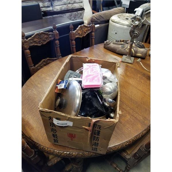 BOX OF KITCHEN ITEMS, POT