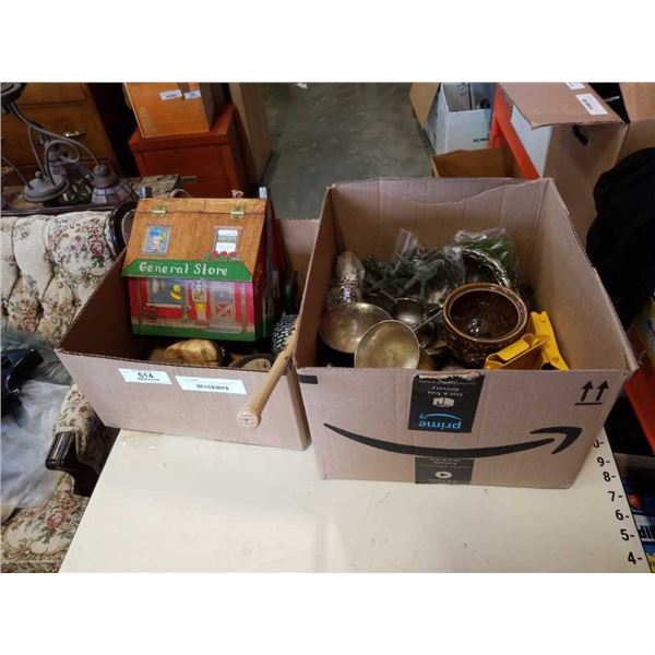 2 BOXES OF COLLECTIBLES - WOODEN DUCKS, CRIB BOARD, BRASS, SILVER PLATED, ETC