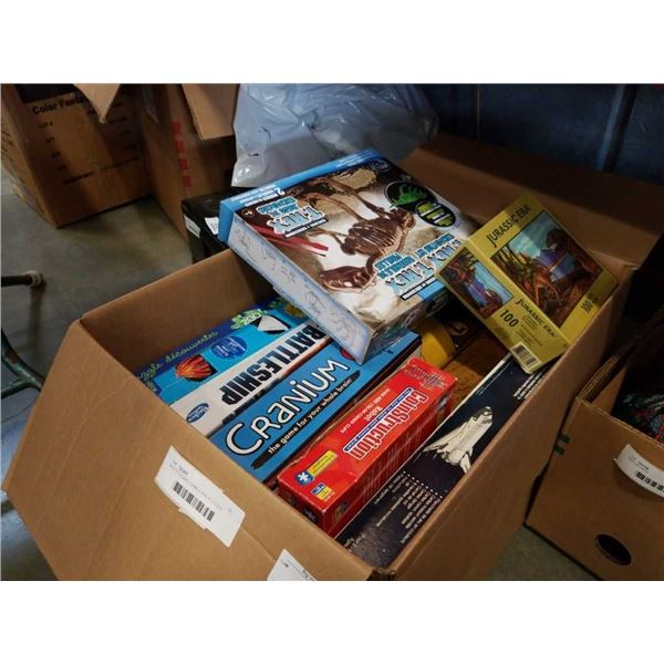 BOX OF BOARD GAMES AND PUZZLES