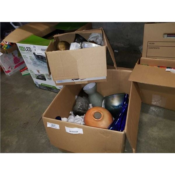 BOX OF MODERN VASES, PEWTER AND SILVER PLATE