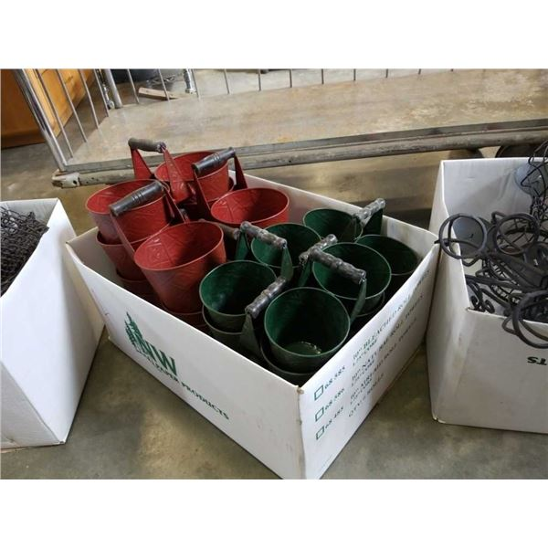 Box of metal plant carriers