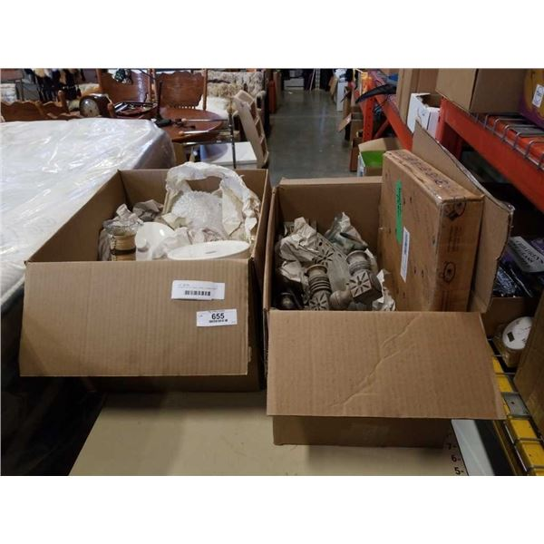 2 BOXES OF KITCHEN ITEMS, CANDELABRA, CANNISTER, DECANTER