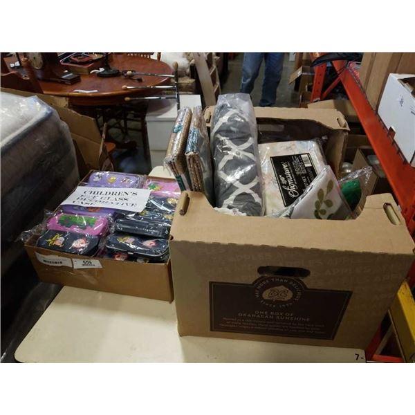 BOX OF LINENS, EYEGLASS CASES, SMOKE ALARMS, JACK LALANE JUICER