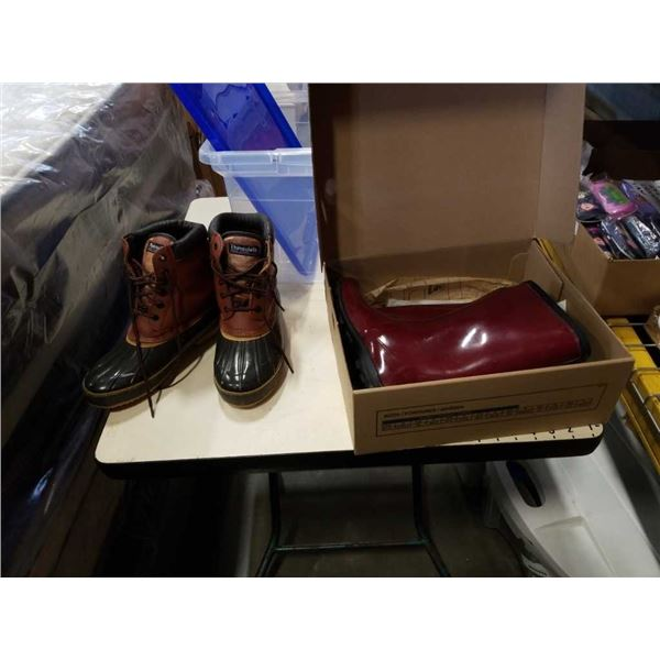 KAMIK SIZE 7 RUBBER BOOTS AND THINSULATE SIZE 7 BOOTS