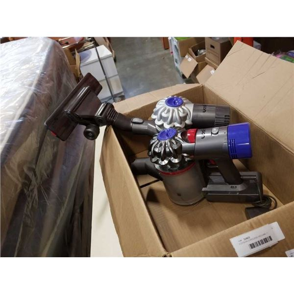 2 DYSON CORDLESS VACUUMS - 1 ATTACHMENT, 1 CHARGER