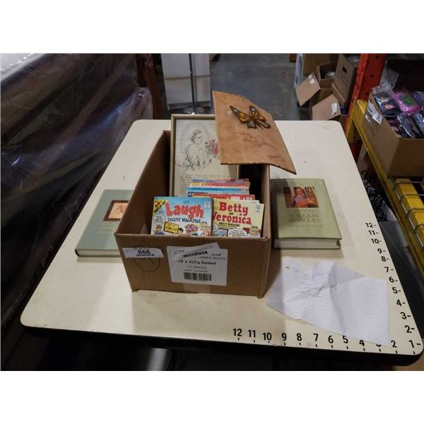 Box of archie comics, florence nightengale, anne of green gables and leather book cover