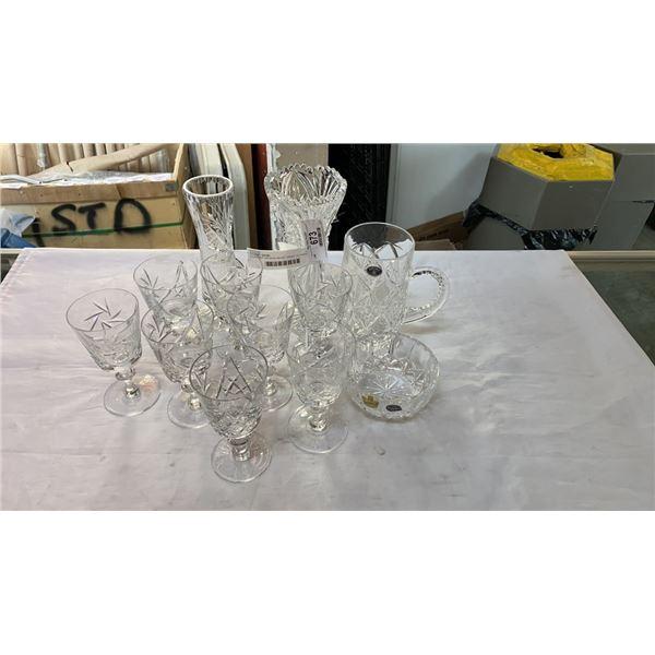 LOT OF CRYSTAL MUGS, VASES, GLASSES