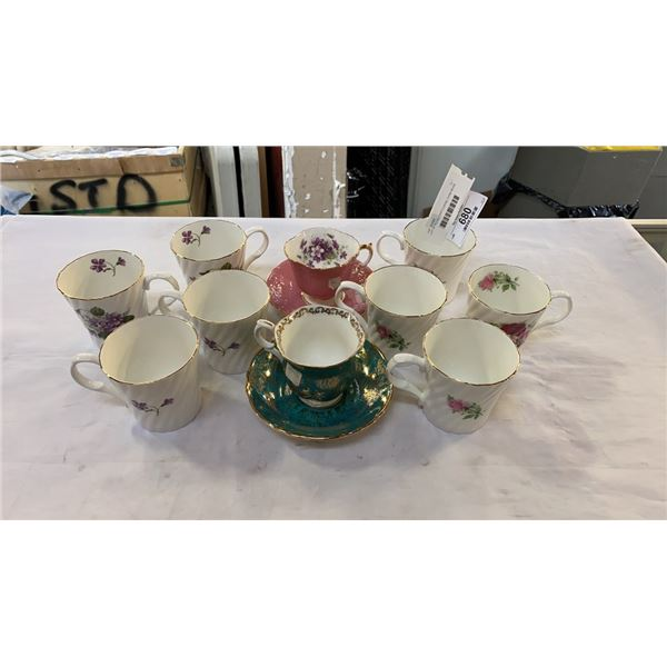 LOT OF ROYAL CASTLE BONE CHINA MUGS AND STAFFORDSHIRE AND AYNSLEY CHINA CUPS AND SAUCERS