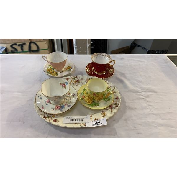 4 CHINA CUPS AND SAUCERS, ROYAL ALBERT, STANDARD AND HAMMERSLEY AND CO AND MYOTT PLATTER