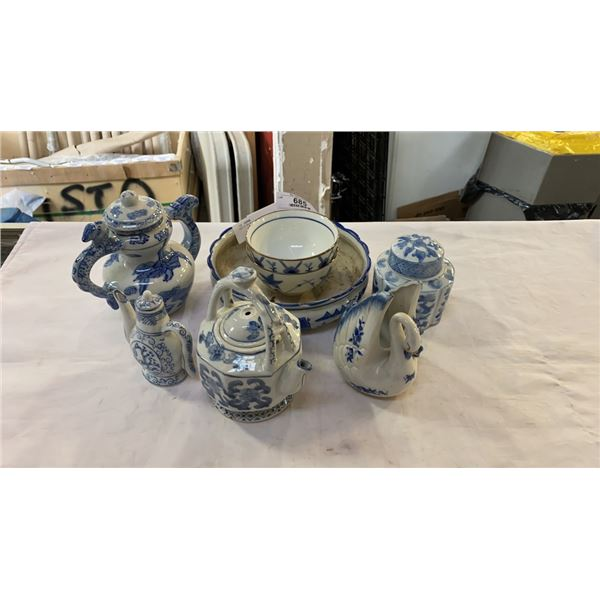 LOT OF BLUE AND WHITE PORCELAIN DISHES