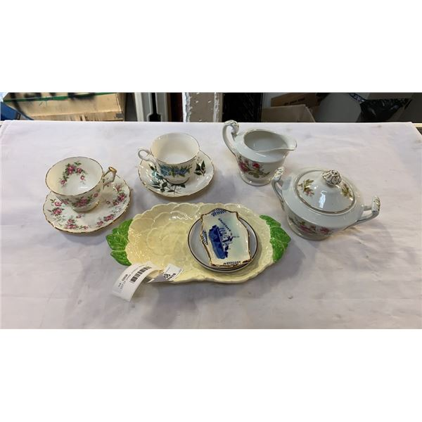 LOT OF CHINA, AYNSLEY, FALCON, HAND PAINTED AND OTHER, CUPS AND SAUCERS, CREAM AND SUGAR