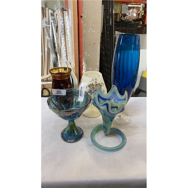 LOT OF ART GLASS AND HAND PAINTED GLASS VASES