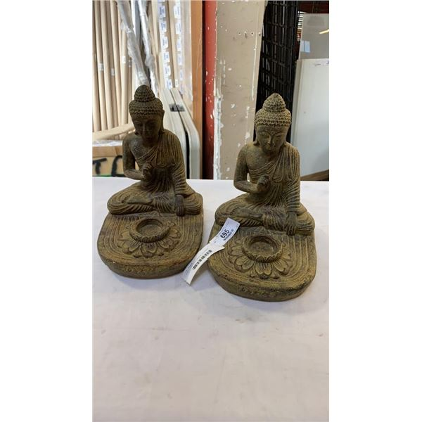 2 STATUES WITH CANDLE HOLDERS