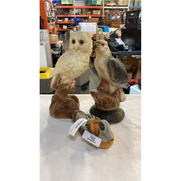 LARGE EAGLE AND OWL CANDLES AND LOON FIGURE