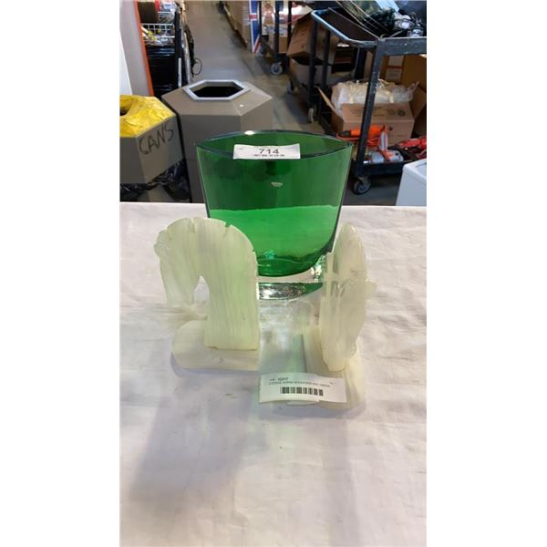 2 STONE HORSE BOOKENDS AND GREEN GLASS KROSNO VASE