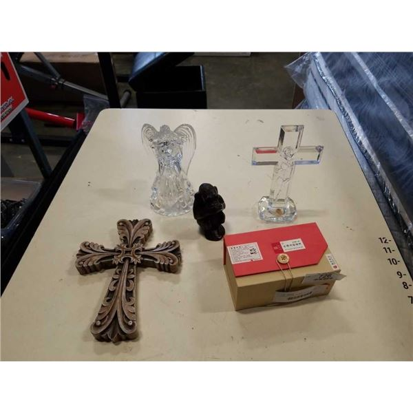 LEAD CRYSTAL CROSS, CROSS FIGURE, GLASS ANGEL, CHINESE TEA AND CARVED MONKEY