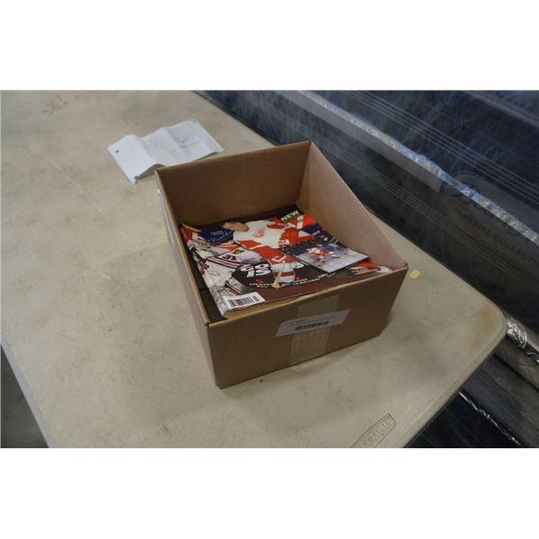 43 NHL rookie cards with hockey memorabilia