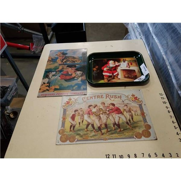 2 REPRODUCTION TIN SIGNS AND COCA COLA TRAY