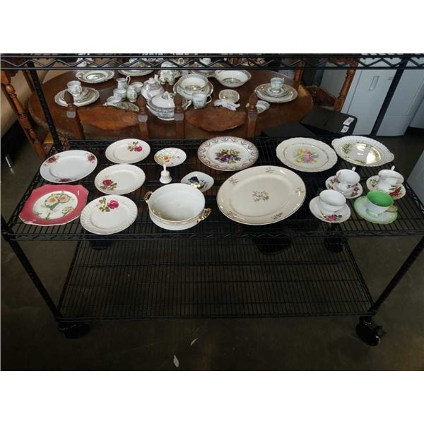 LOT OF CHINA PLATTERS, CUPS AND SAUCERS - SOME CHIPS, ROYAL ALBERT, ADDERLY, MYOTT AND OTHERS